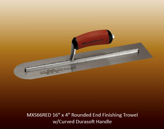 Rounded end finishing trowel