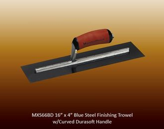 Blue steel finishing trowel